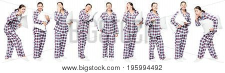 Girl With Pillow Posing On White Background, 9 Portraits In Full Length In A Row