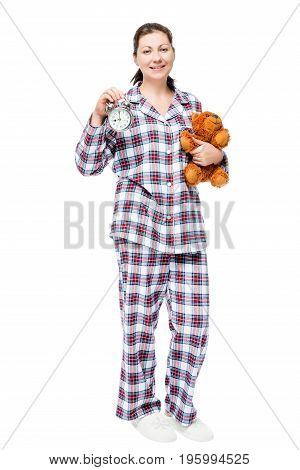 Girl In Pajamas With Teddy Bear And Alarm Clock Isolated, Full-length