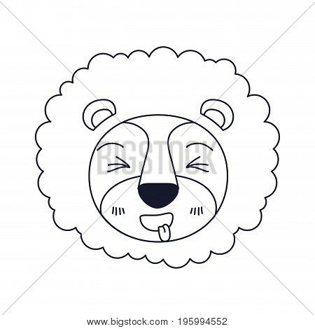 sketch silhouette caricature face of lion sticking out tongue expression with mane vector illustration