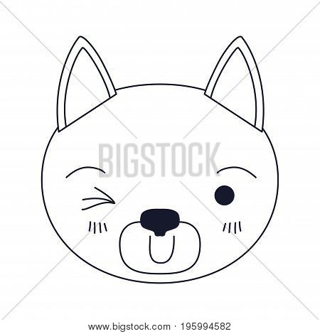 sketch silhouette caricature face of cat wink eye expression vector illustration