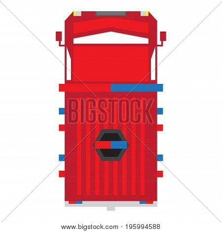 Isolated top view of a firetruck, Vector illustration