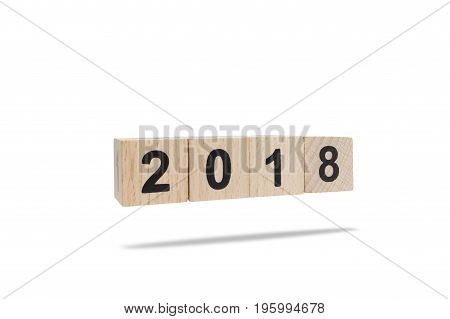 Wooden block number 2018 isolated on white background with clipping path