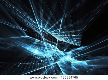 Computer generated abstract technology image. Three-dimensional blue fractal texture, 3D illustration