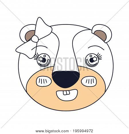 color sections of cute face of lioness happiness expression with bow lace vector illustration