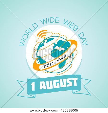 Calendar for each day on august 1. Greeting card. Holiday - world wide web day. Icon in the linear style