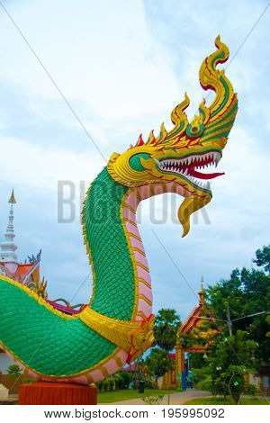 Serpent king or king of naga statue at Ubonratchathani ProvinceThailand.