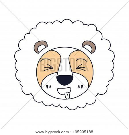 color sections of cute face of lion sticking out tongue expression with mane vector illustration