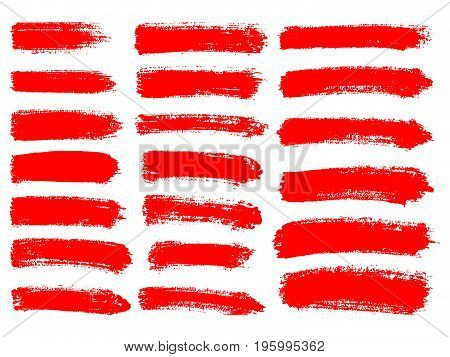 Painted Grunge Stripes Set. Red  Labels, Background