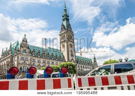 HAMBURG , GERMANY - JULY 14, 2017: Barricade is blocking the road to the townhall and square
