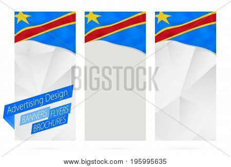 Design Of Banners, Flyers, Brochures With Flag Of Dr Congo.