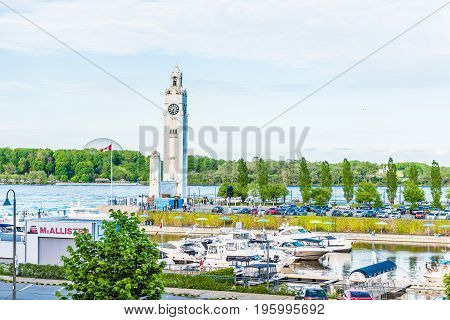 Montreal, Canada - May 27, 2017: Old Port Area With Clock Tower In Old Town In City In Quebec Region