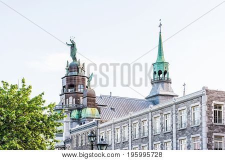 Montreal, Canada - May 27, 2017: Front Exterior View Of Chapelle Notre Dame De Bon Secours In Quebec