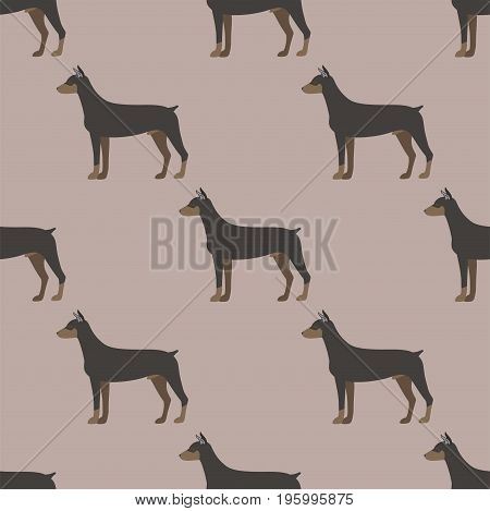 Funny cartoon doberman dog character bread seamless pattern happy puppy and isolated friendly mammal vector illustration. Domestic element flat comic adorable mascot canine.