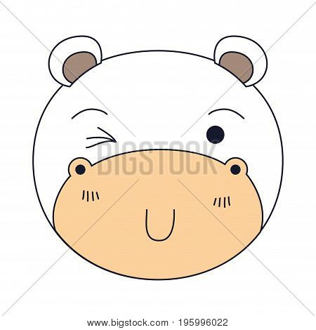 color sections of cute face of hippo wink eye expression vector illustration