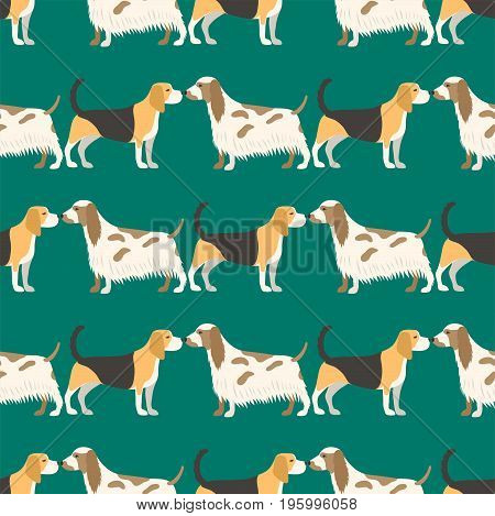 Funny cartoon dog character bread seamless pattern happy puppy friendly mammal vector illustration. Domestic element flat comic adorable mascot canine.