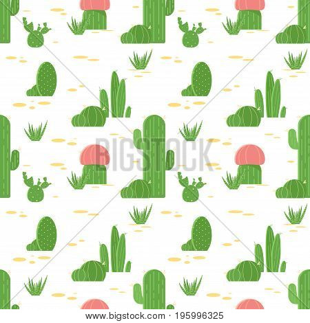 Seamless Pattern Of Cacti And Succulents. Flat Design Cactus Isolated On White Background. Vector Il