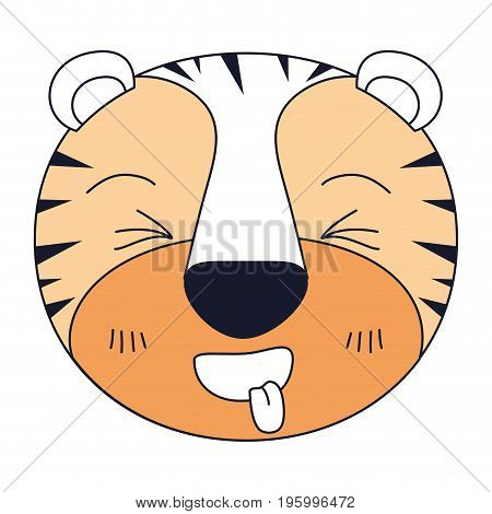 color sections of cute face of tiger sticking out tongue expression vector illustration