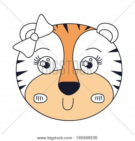 color sections of face of female tigress animal with bow lace vector illustration