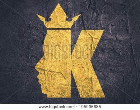 King logo. Royal luxury emblem. Face and crown icon. Business fantasy golden badge with K letter. Grunge texture effect