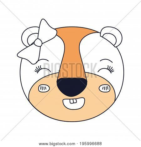 color sections of face of female lioness animal smiling expression with bow lace vector illustration