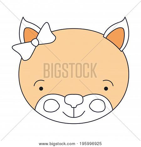 color sections of face female kitten animal happiness expression with bow lace vector illustration