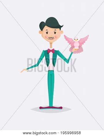 Cute magician character tricks vector illustration magic show cartoon man wizard circus. Surprise entertainment performance illusion male person wand profession