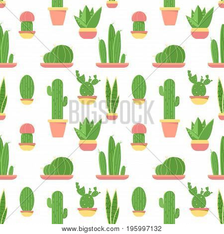 Seamless Pattern Of Cacti And Succulents In Pots. Flat Design Cactus Isolated On White Background. V