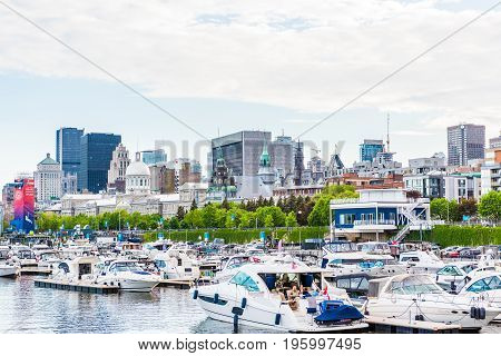 Montreal, Canada - May 27, 2017: Old Port Area With Boats In Harbor City In Quebec Region During Sun