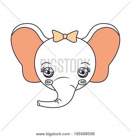 color sections face female elephant animal cute expression vector illustration