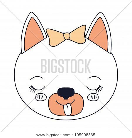 color sections face female cat animal sticking out tongue expression vector illustration