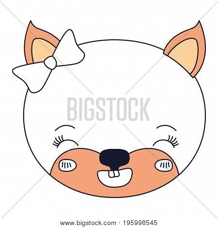 color sections face female cat animal eyes closed and happiness expression vector illustration