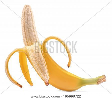 Close-up of a tasty, natural, ripe, organic open banana, isolated on white background. Delicious sweet and ripe banana. A concept of diet and vitamins. Tropical and exotic fruits.