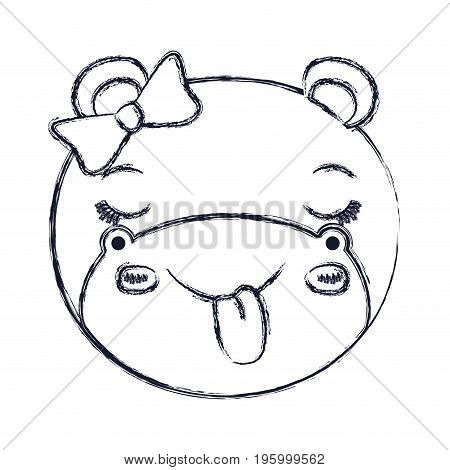 face of female hippo animal sticking out tongue expression vector illustration