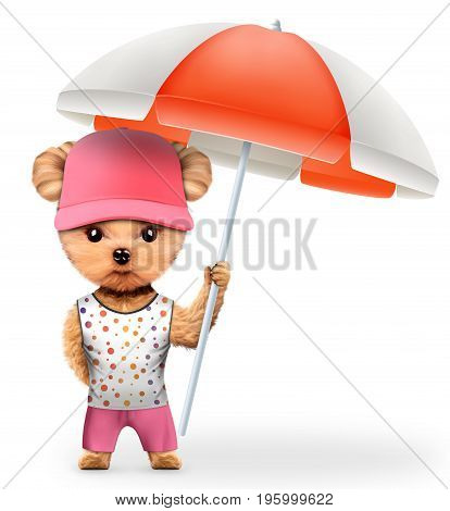 Funny animal in t-shirt and shorts holding umbrella. Concept summer holidays, travel vacation concept. Realistic 3D illustration.