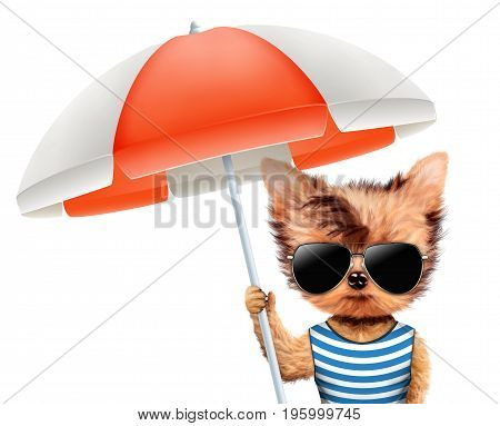 Funny animal in t-shirt and sunglasses holding umbrella. Concept summer holidays, travel vacation concept. Realistic 3D illustration.