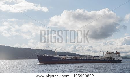 Tanker ship on the volga river - summer sunny day