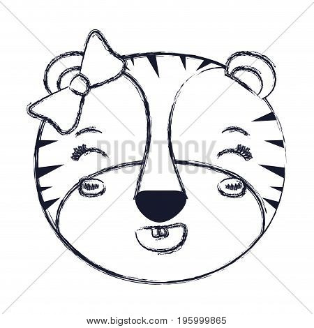 face of female tigress animal adorable expression happiness vector illustration