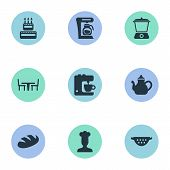 Vector Illustration Set Of Simple Gastronomy Icons. Elements Drainer, Infuser, Coffee Maker And Other Synonyms Teakettle, Birthday And Grain. poster