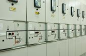 Switchgear in the electrical room. Substation control and automation. poster