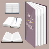 Colorful book vector illustration learn literature study opened closed education knowledge document textbook. Learning page university text reading encyclopedia. poster