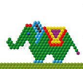 Funny mosaic elephant - an illustration for your design project. poster