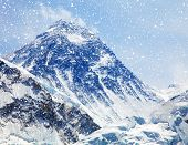 View of top of Mount Everest with clouds and snowfall from Kala Patthar way to mount Everest base camp khumbu valley nepalese himalayas - Nepal poster