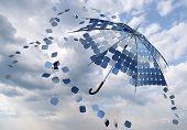 open solar photovoltaic umbrella stick concept poster