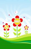 Sale tag with a beautiful  red flowers. Shopping concept Illustration Image. Can use it for any sale time/seasons poster