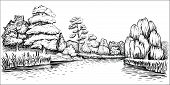Panoramic landscape with trees and river, vector hand drawn illustration. Riverside with forest and water reflection, reed and cattail. poster