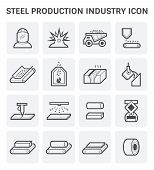 Steel and metal production industry or metallurgy vector icon set design. poster