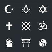 Islam, masonry, judaism, christianity, buddhism, hinduism, paganism, taoism. poster