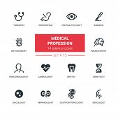 Medical professions - set of vector line icons. Therapist, pediatrician, ophthalmologist, surgeon, neuropathist, endocrinologist, cardiologist, dentist, gastroenterologist, nephrologist, oncologist poster