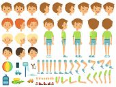 Funny cartoon boy creation mascot kit with children toys and different body parts. Character cute boy constructor, body part hand and leg. Vector illustration poster
