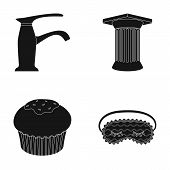 sanitary ware, cooking and or  icon in black style. Archeology, house icons in set collection. poster